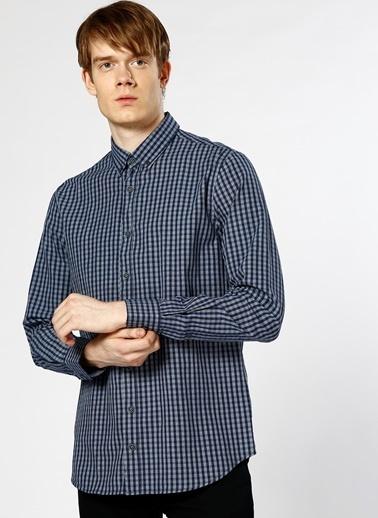 Limon Company Kareli Uzun Kollu Gömlek Lacivert